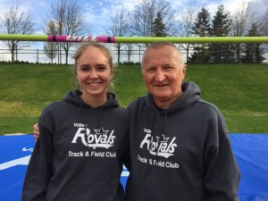 Alexa & Coach Ziggy High Jump photo with VR Logo Shirts