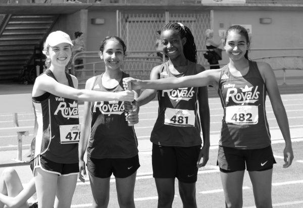 Vaness Pirani, Sanaa Musonge, Aya Belway, and Parvina Malhi - the U18 girls 4x200m relay team.