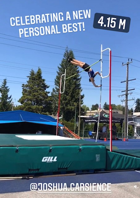 Joshua Carsience pole vaulting a personal record of 4.15 metres.